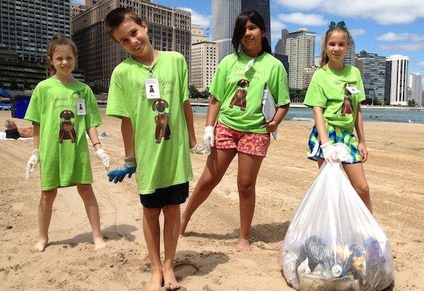 kids clean up beach chicago