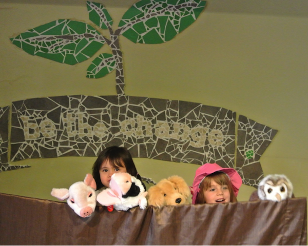 "Participants imagining what it would like to be a pig, cow, dog, and owl in our ""Empathy Theatre""."