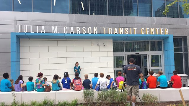 Campers learn all about the sustainability measures of the new transit center.