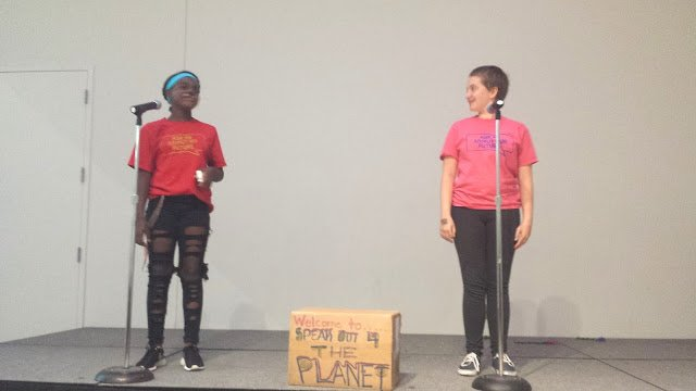 """Ocean, left, and Hillary, blew everyone away with their beautiful spoken word piece, """"99 Reasons to Save the Earth,"""" a fitting finale to our showcase."""