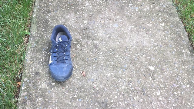 The mystery begins. As I pick up Noah, all I see is this shoe. Spontaneous (almost complete) combustion?