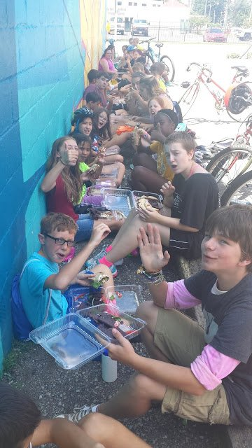 Campers thank Three Carrots for providing us a delicious vegan lunch!